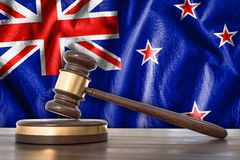 Wooden gavel and flag of Netherlands on background - law concept Royalty Free Stock Images