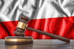 Wooden gavel and flag of Poland on background - law concept. 3D rendered illustration Royalty Free Stock Photos