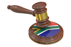 Wooden Gavel with Flag of South Africa, 3D rendering Royalty Free Stock Photos