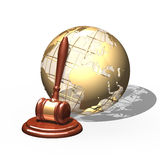 Wooden gavel and golden globe  over white Royalty Free Stock Image