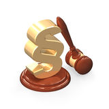 Wooden gavel and golden paragraph isolated over white Stock Photography