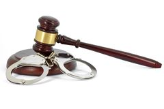 Wooden Gavel and handcuffs Royalty Free Stock Photo