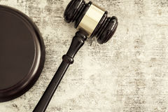 Wooden gavel. High andle view stock photography