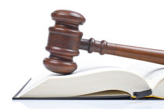 Wooden gavel and law book Stock Image