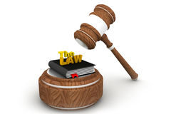 Wooden gavel and law book Royalty Free Stock Photos
