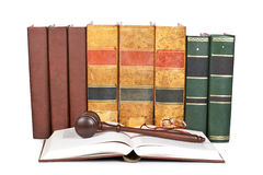 Wooden gavel and law books Royalty Free Stock Photography