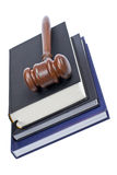 Wooden gavel and law books Royalty Free Stock Photos
