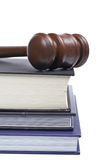 Wooden gavel and law books Royalty Free Stock Photo