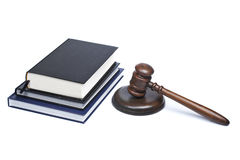 Wooden gavel and law books Royalty Free Stock Images