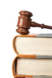 Wooden gavel and law books Stock Photography