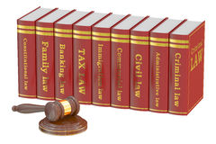 Wooden Gavel and Law Books, 3D rendering Royalty Free Stock Image