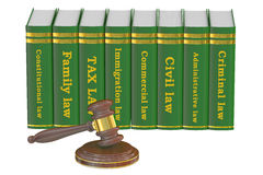 Wooden Gavel and Law Books, 3D rendering Stock Images