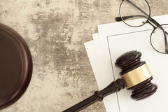Wooden gavel. Law objects on vintage wooden table royalty free stock photos