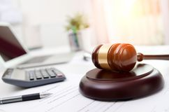Wooden gavel at lawyer or attorney office. Law in technology, justice concept Royalty Free Stock Photos