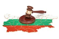Wooden Gavel on map of Bulgaria, 3D rendering Stock Photography