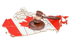 Wooden Gavel on map of Canada, 3D rendering. Isolated on white background Stock Image
