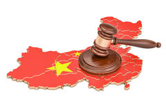 Wooden Gavel on map of China, 3D rendering. Isolated on white background royalty free illustration
