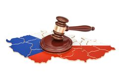 Wooden Gavel on map of Czech Republic, 3D rendering Stock Image