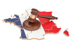 Wooden Gavel on map of France, 3D rendering Stock Photos