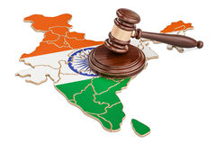 Wooden Gavel on map of India, 3D rendering Royalty Free Stock Photos