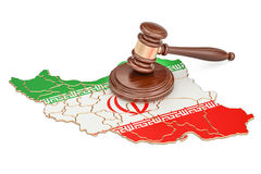 Wooden Gavel on map of Iran. 3D rendering Stock Photography