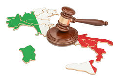 Wooden Gavel on map of Italy, 3D rendering Royalty Free Stock Images