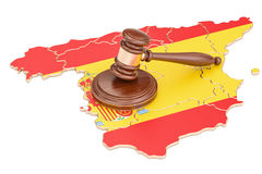 Wooden Gavel on map of Spain, 3D rendering Royalty Free Stock Photos