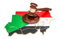 Wooden Gavel on map of Sudan, 3D rendering. Isolated on white background Stock Image