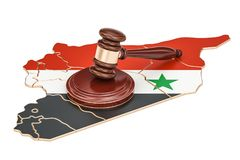 Wooden Gavel on map of Syria, 3D rendering Royalty Free Stock Photography