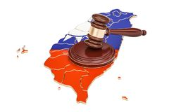 Wooden Gavel on map of Taiwan, 3D rendering Stock Image