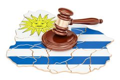 Wooden Gavel on map of Uruguay, 3D rendering. Isolated on white background Royalty Free Stock Photos