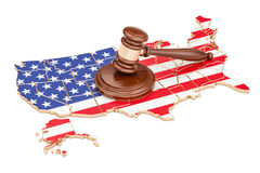 Wooden Gavel on map of USA, 3D rendering Royalty Free Stock Photography