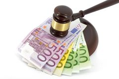 Wooden gavel and money Stock Photography