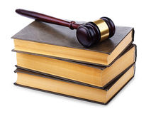 Wooden gavel and old books Royalty Free Stock Photos