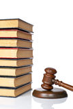 Wooden gavel and old law books Stock Photography