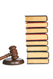Wooden gavel and old law books Stock Image