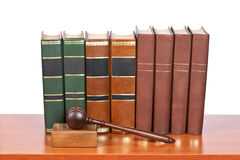 Wooden gavel and old law books Royalty Free Stock Photography