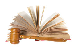 Wooden Gavel and Opened Book Stock Photography