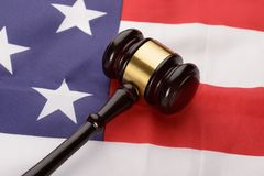Wooden gavel over usa flag Royalty Free Stock Photography