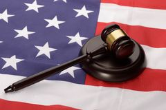 Wooden gavel over usa flag Stock Photography