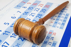 Wooden gavel on paper calendar Royalty Free Stock Images