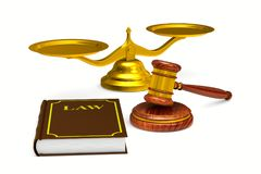 Wooden gavel and scales and book on white background. Isolated 3 Royalty Free Stock Photos