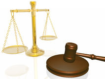 Wooden gavel and scales from the court. (see more in my portfolio Stock Photography