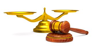 Wooden gavel and scales on white background. Isolated 3D illustr. Ation Stock Images