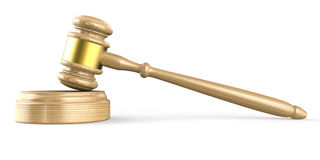 Wooden gavel. Side view. 3D illustration Royalty Free Stock Photo