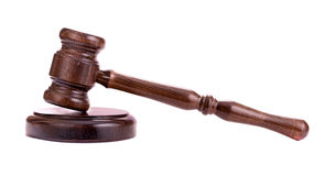 Wooden gavel side view Royalty Free Stock Photo