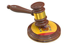 Wooden Gavel with Spanish Flag, 3D Stock Photo