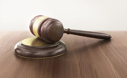 Wooden gavel on the table Stock Image
