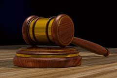 Wooden gavel on table. 3D illustration.  Stock Photography