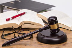 Wooden gavel on a table Royalty Free Stock Image